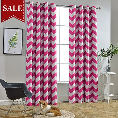 Melodieux Chevron Room Darkening Blackout Grommet Top Curtains, 52 by 96 Inch, Fuchsia Pink (1 Panel)