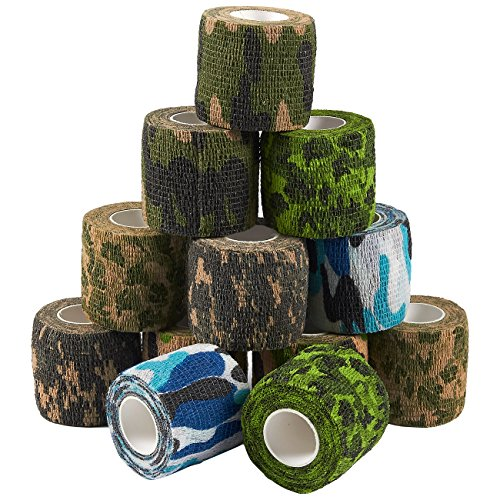 Self Adhesive Bandage Wrap, Cohesive Tape in 6 Colors, Camouflage Pattern (2 in x 5 Yards, 12-Pack)