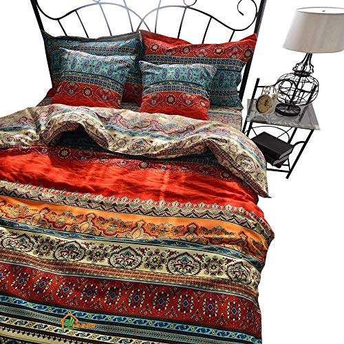HNNSI Brushed Cotton Bohemian Duvet Cover and Fitted Sheet Sets Queen Size 4 Pieces, Bohemia Exotic Striped Bedding Sets, Boho Comforter Cover Sets,NO Comforter (Fitted Sheet Sets, Queen)