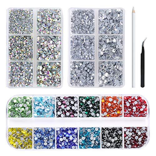Nibiru 6000Pcs Hotfix Rhinestone Flat Back Gemstone Crystal Set with Clear and Clear AB 6 Sizes Crystal and 12 Mixed Color SS12 Rhinestones for DIY Manicure, Face Art Clothes Bags