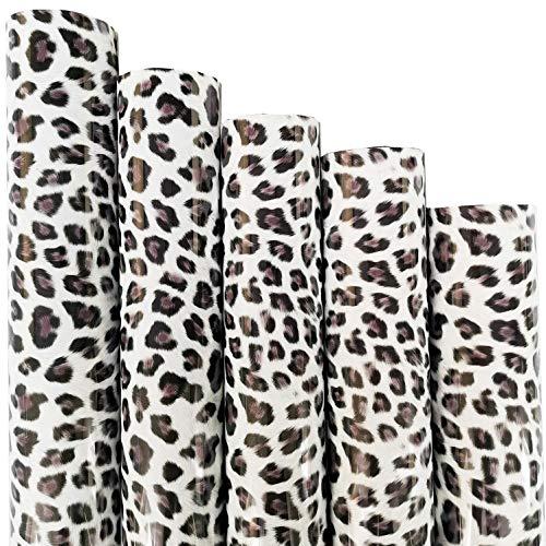ZAIONE 5pcs/Set 11.8' x 9.8' Sheets Black and White Leopard Pattern Heat Transfer Vinyl Wild Animal Print Iron-on HTV Craft Film Garment Clothing for T-Shirt Decoration DIY Craft Material