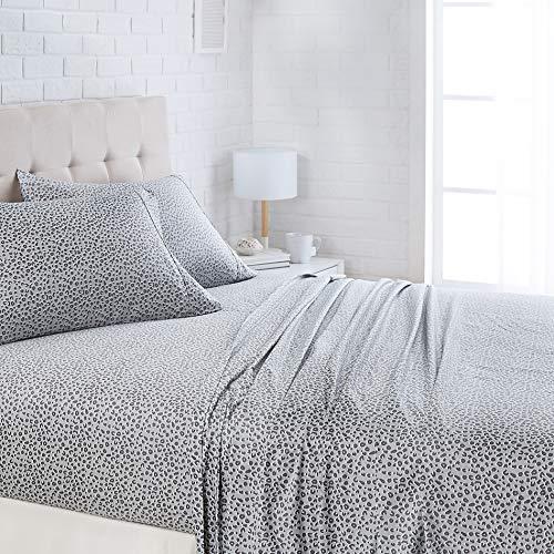 AmazonBasics Lightweight Super Soft Easy Care Microfiber Bed Sheet Set with 16' Deep Pockets - Queen, Grey Cheetah