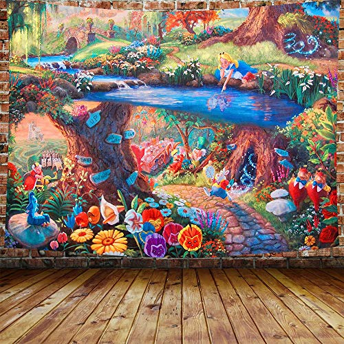 DBLLF Fairytale Forest Tapestry Alice in Wonderland Tapestry 80'x60' Rabbit Motion Cups Hearts and Flower Character Alice Cartoon Style, Wide Wall Hanging for Bedroom Living Room Dorm DBLS1304