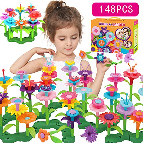 Flower Garden Building Toy Set - Gifts for 3, 4, 5, 6 Year Old Toddler Girls - Preschool Educational Stem Toys Kids Best Top Christmas Birthday Gifts for Creativity Play