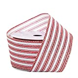 2 1/2' X 10 Yards White/Red Tri-Striped Wired Ribbon