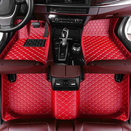 8X-SPEED Custom Car Floor Mats Fit for Mercedes Benz C Class 180 200 250 300 350 400 Sedan(4-Door) 2014-2015 Full Coverage All Weather Protection Waterproof Non-Slip Leather Liner Set Red