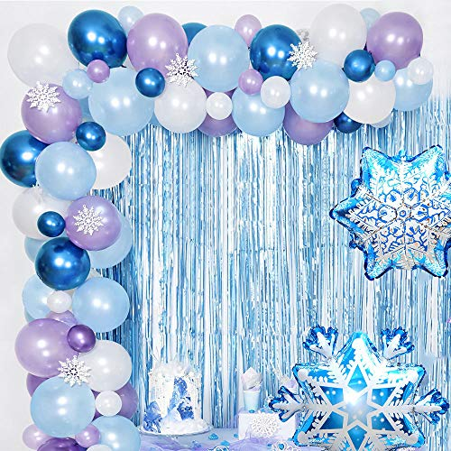 AYUQI Frozen Balloon Arch & Garland Kit, 16ft Long Birthday Balloons Party Supplies Purple Blue White & Blue Metallic Latex Balloons, Snowflakes Decorations for Wedding Birthday Baby Shower