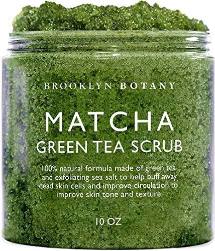Brooklyn Botany Matcha Green Tea Exfoliating Body Scrub (Updated Formula) - Body Scrub, Foot Scrub & Facial Scrub Moisturizes and Nourishes Face Feet & Skin - Reduce Inflammation - Soothe & Smooth Feet - 10 oz