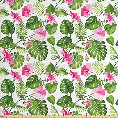 Lunarable Leaf Fabric by The Yard, Hawaiian Hibiscus Crystal Pink Flower with Palm Tree Leaves Art Print, Decorative Fabric for Upholstery and Home Accents, 1 Yard, Pink Green