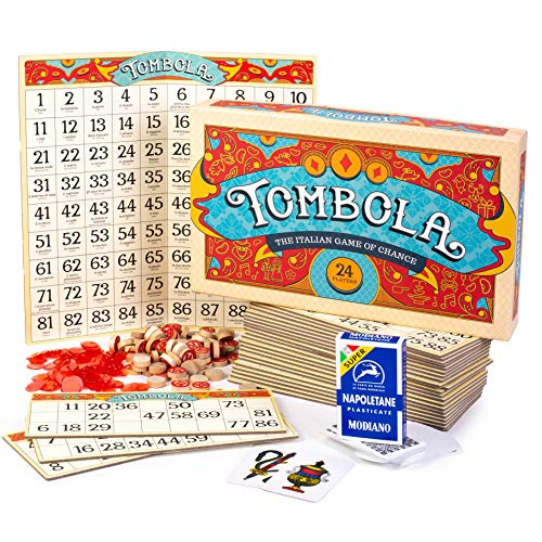Italian Game Night Bundle - Tombola Bingo Board Game + Traditional Napoletane Playing Cards - Italian Game of Chance for Family, Friends and Large Parties Up to 24 Players - Fun for Adults & Kids