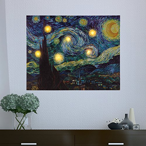 Lavish Home Wall Art Canvas with Timer-Van Gogh Starry Night Printed Decor with LED and Color-Changing Lights for Home and Office, 16x20, Multicolor