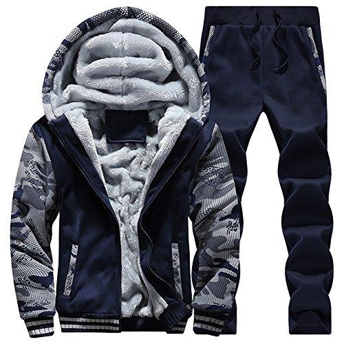 MANTORS Men's Fleece Jackets Hoodies Thick Coats Wool Warm Hooded Sweatshirt Winter Pullover 2Dark Blue-L