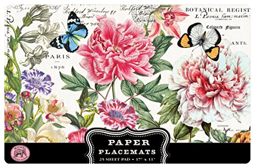 Michel Design Works 25 Count Peony Paper Placemats
