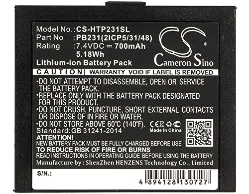 Cameron Sino 700mAh Li-ion High-Capacity Replacement Batteries for HiTi Pringo P231 / Pringo P231 Photo Printer, fits HiTi PB231 / PB231(2ICP5/31/48)