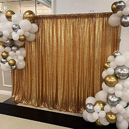 QueenDream Sequin Backdrop Curtain Panel 7ft x7ft Gold Sequin Photography Background Sequence Fabric