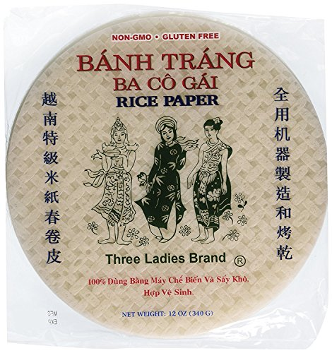 Three Ladies Spring Roll Rice Paper Wrappers Round 25cm (3pks)