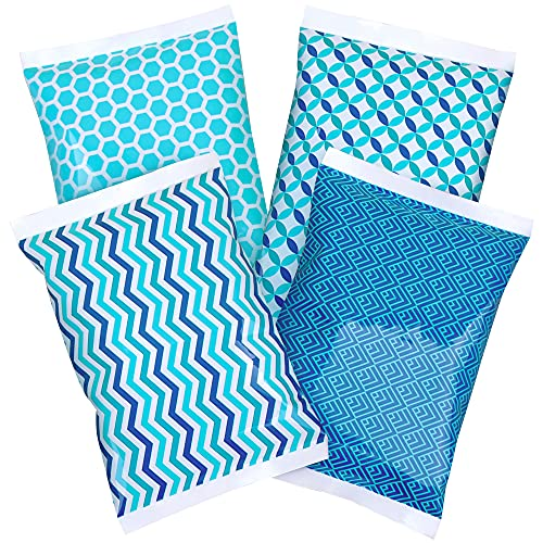Ice Pack for Lunch Boxes - 4 Reusable Packs - Keeps Food Cold – Cool Print Bag Designs - Great for Kids or Adults Lunchbox and Cooler…