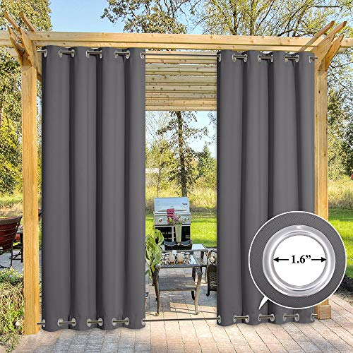 NICETOWN Outdoor Patio Curtain Waterproof 84 Long, Top and Bottom Grommets Heavy Weight Windproof Sunlight Blocking, Keep Privacy for Your Yard Outdoor Drape (1 Piece, W52 x L84 inch, Grey)
