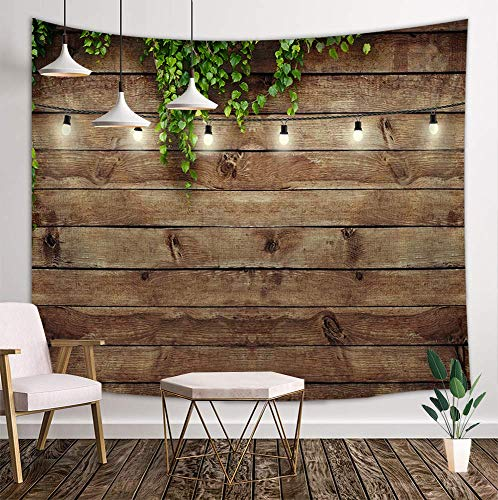 KOTOM Vintage Wooden Board Tapestry, Green Leaves on Country Wood Rustic Barn Door Deocr, Wall Art Hanging Blankets Home Decor for Bedroom Living Room Dorm, 80X60 Inches