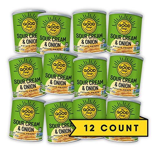 The Good Crisp Company, Sour Cream and Onion Gluten Free Potato Chips (1.6oz, Pack of 12), Non-GMO, Allergen Friendly, Potato Chip Snack Pack, Gluten Free Snacks