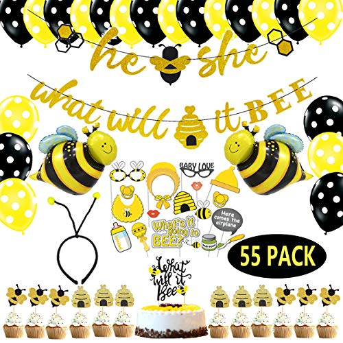 He or She What Will It Bee Banner Gender Reveal Party Decorations Supplies Kit, What Will it Bee Cake Toppers Glitter Bumble Bee Honeycomb Cake Toppers Bee Balloon Headband Photo Booth Props for Honey Bee Themed Baby Baby Shower Glitter Ornaments 55 Pack