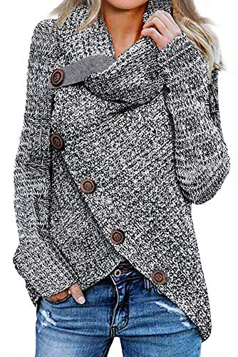 Asvivid Womens Turtle Cowl Neck Sweater Plain Button Asymmetrical Wrap Pullover Lightweight Knitted Sweaters Jumper Tops S Grey