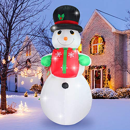 ShinyDec Christmas Inflatable 8 Foot Xmas Snowman with Gift, Lights Airblown Oversize Yard Decorations, White