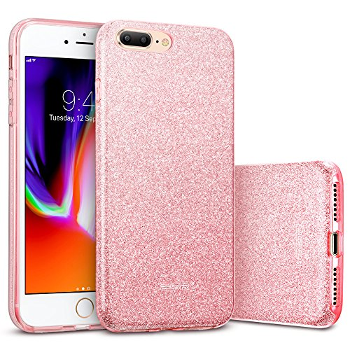 ESR iPhone 8 Plus Case, iPhone 7 Plus Case,Glitter Sparkle Bling Case [Three Layer] for Girls Women [Supports Wireless Charging] for 5.5' iPhone 8 Plus/7 Plus(Rosegold)