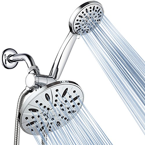 AquaDance 7' Premium High Pressure 3-Way Rainfall Combo Combines The Best of Both Worlds-Enjoy Luxurious Rain Showerhead and 6-Setting Hand Held Shower Separately or Together, Chrome