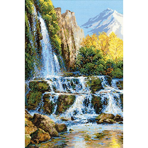 RIOLIS 1194 Landscape with Waterfall - Counted Cross Stitch Kit 15¾' x 23½' Zweigart 10 ct, White AIDA 30 Colors