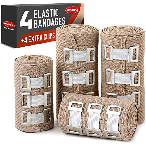 Premium Elastic Bandage Wrap - 4 Pack + 4 Extra Clips - Durable Compression Bandage (2X - 3 inch, 2X - 4 inch Rolls) Stretches up to 15ft in Length