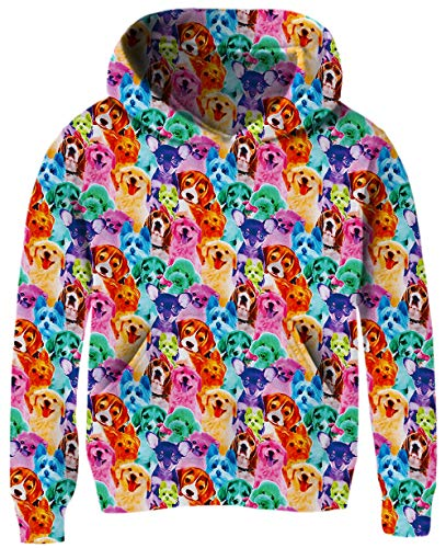 Unisex Kids Hoodie Jackets for Little Girls Boys 12 13 14 15 Years Old Funny Design Orange Teal Dog 3D Digital Printed Puppy Long Sleeve Hooded Sweatshirts with Big Pocket Winter Casual Wear Outfits