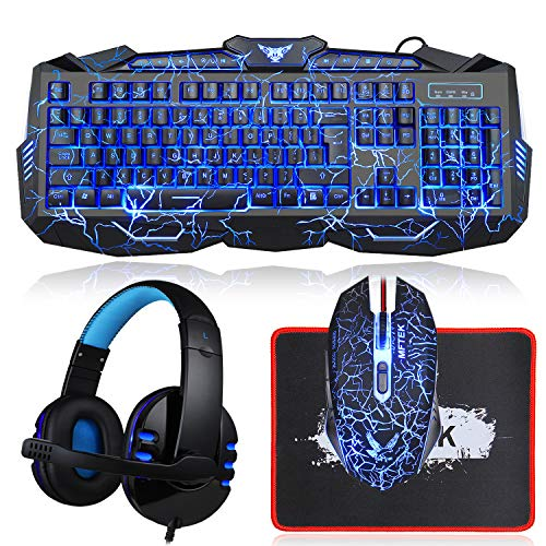 Gaming Keyboard and Mouse Combo with Headset, MFTEK Crack Backlit 3 Colors Keyboard, Wired Gaming Mouse, Lighted Gaming Headset with Microphone Set, 50mm Speaker Driver + Mouse Pad for PC Games