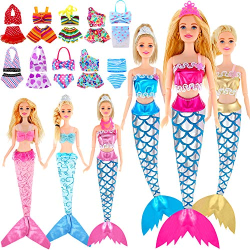 16 Sets Mermaid Tail Dresses Doll Swimsuits and Bikini Clothes Mermaid Doll Rainbow Swimwear Beach Costume for Dolls from 11.5 Inches to 12 Inches