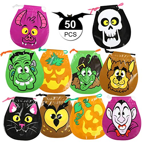 GWHOLE Pack of 50 Halloween Drawstring Treat Bags Goody Bags for Halloween Party Favors,10 Style