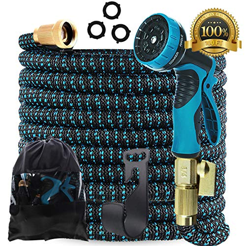 Gardguard 100ft Expandable Garden Hose: Water Hose with 9 Function Nozzle and Durable 3-Layers Latex, Flexible Water Hose with Solid Brass Fittings, Best Choice for Watering and Washing
