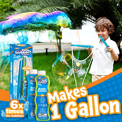 2 Giant Bubble Wands (Make 1 Gallon Total) with 2 CONCENTRATED Bubble Refill Solution for kids, Big Large Bubble Maker in Backyard, Outdoor Water Toy Game Activities, Birthday, Summer Party Favor