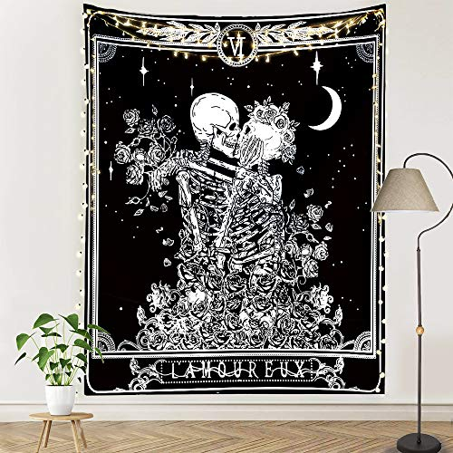 pinata Skull Tapestry Tarot Skeleton Wall Tapestry The Kissing Lover Gothic Home Decor Black and White Wall Hanging for Bedroom