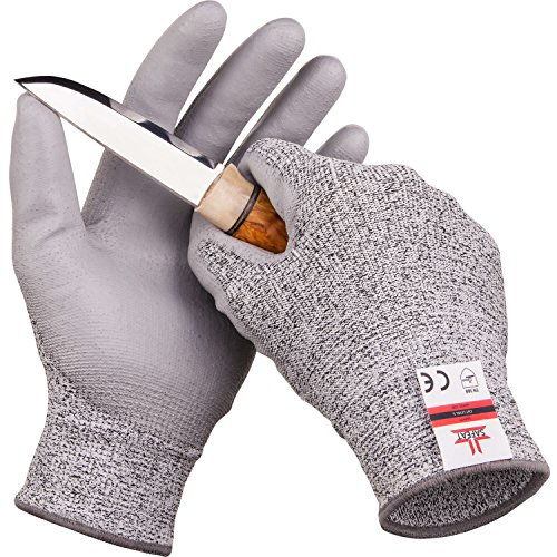 SAFEAT Safety Grip Work Gloves for Men and Women – Protective, Flexible, Cut Resistant, Comfortable PU Coated Palm. Free eBook Gift Included! Size XL