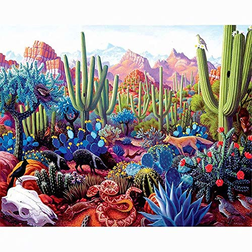 Diy Adult Painting by Numbers for Adults Kits Landscape Paint by Numbers Countryside for Home Decor,Desert Cactus Flower Pattern, 16X20Inches