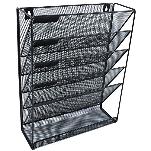 Easepres File Organizer Mesh 5-Tier Black Hanging File Organizer Vertical Holder Rack for Office Home