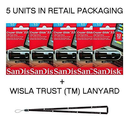 SanDisk Cruzer Glide 32GB (5 Pack) SDCZ600-032G USB 3.0 Flash Drive Jump Drive Pen Drive SDCZ600-032G - Five Pack + Bonus Wisla Trust (TM) landyard