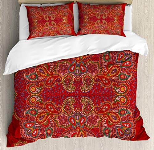 Ambesonne Mandala Duvet Cover Set, Moroccan Persian Design Oriental Rectangular Paisley Floral Print, Decorative 3 Piece Bedding Set with 2 Pillow Shams, Queen Size, Burgundy White