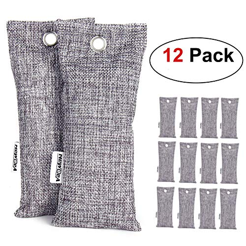 NEWBEA 12 Pack 75g Each Bamboo Charcoal Air Purifying Bag, Shoe Deodorizer, Natural Air Freshener, Odor Eliminator, Activated Charcoal Odor Absorber for Shoes, Home, Closet, Car