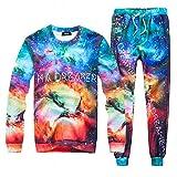 Uhomedecor Men's Emoji Joggers Sweatpants/shirts Suit Galaxy Blue Sportswear Gym Sport, Large