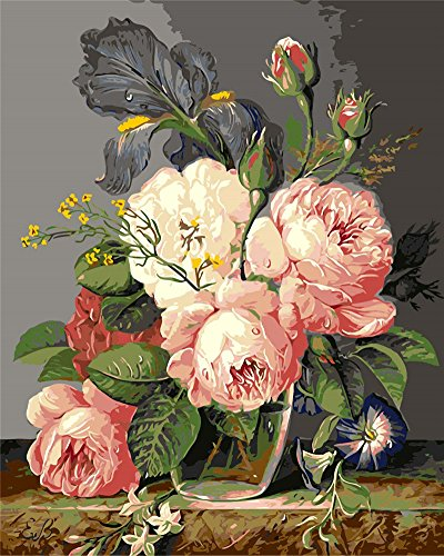 CaptainCrafts New Paint by Numbers 16x20' for Adults, Kids Linen Canvas - Mouthwatering Flowers (with Frame)