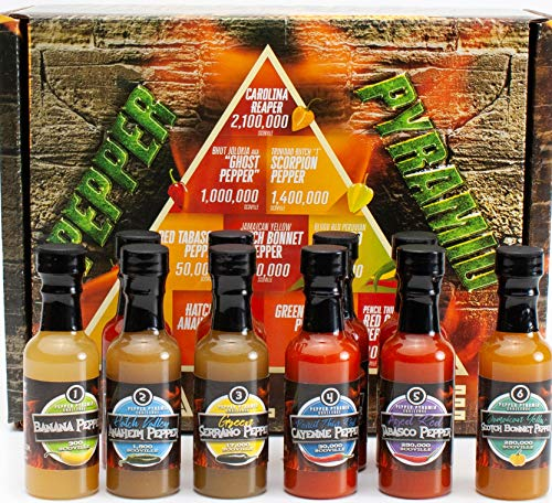 Hot Sauce Gift Set Pepper Challenge - 10 Sauces, From 10 Hot Peppers, the Hottest Carolina Reaper, 2 million Scoville Units, to the Mild Banana Pepper at 300. The Pepper Pyramid Sampler by, BYOB