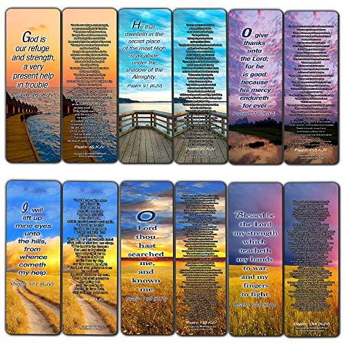 Psalm Bookmarks Cards (60-Pack) - Christian KJV Version Bible Scripture Prayer Cards - Psalm 46, Psalm 91, Psalm 118, Psalm 121, Psalm 139, Psalm 144 - Bible Study Religious Gifts for Men Women