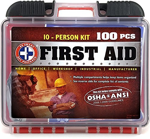 Be Smart Get Prepared 100Piece First Aid Kit, Exceeds OSHA Ansi Standards for 10 People - Office, Home, Car, School, Emergency, Survival, Camping, Hunting, & Sports