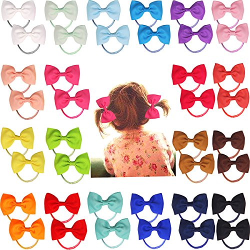 40pcs 2.75' Boutique Hair Bows Tie Baby Girls Kids Children Rubber Band Ribbon Hair bands